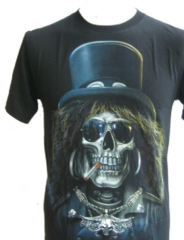 Cigarette Smoking Skull ' Glow In The Dark ' T Shirt With Large Colour Back Print